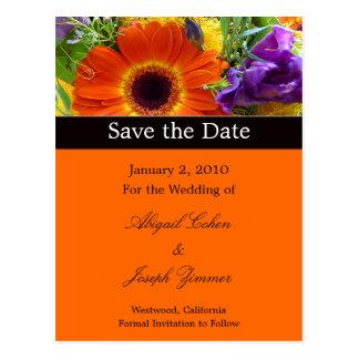 Save the date postcards, summer bouquet postcard