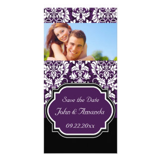 Save the Date ~ Purple and Black Damask Photo Card Template
