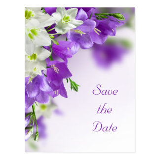 Save the Date--Purple Flowers Vertical Postcard