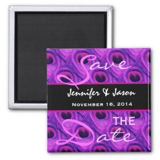 Save the Date Purple Peacock Feathers Square Magnet