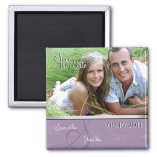 Save the Date Purple & Silver Monogram Magnet