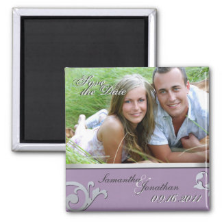 Save the Date Purple & Silver Sparkle Magnet