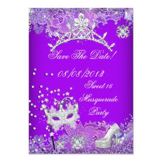 "Save The Date Purple Sweet Sixteen 16 Masquerade 2 5"" X 7"" Invitation Card"