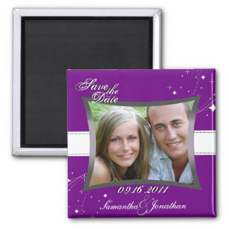 Save the Date Purple & White Stars Magnet