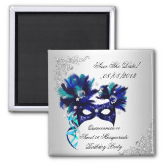 Save The Date Quinceanera Sweet 16 Masquerade Blue Square Magnet