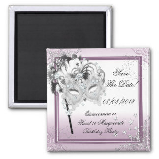 Save The Date Quinceanera Sweet 16 Masquerade Pink Square Magnet