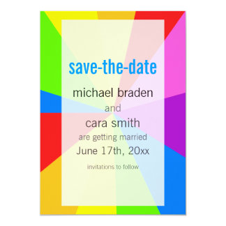 "SAVE THE DATE Rainbow Circus Tent 5"" X 7"" Invitation Card"