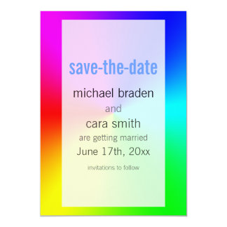 "SAVE THE DATE Rainbow Gradient 5"" X 7"" Invitation Card"
