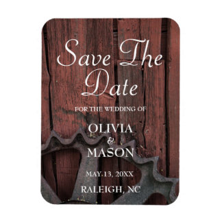Save The Date Red Barn Wood Rustic Wheel Wedding Rectangular Photo Magnet