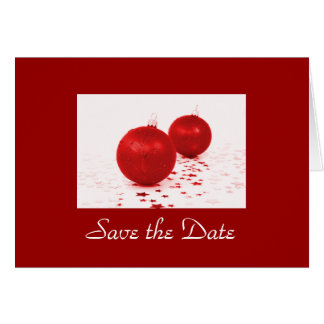 """Save the Date"" - Red Christmas Tree Ornaments [b] Card"