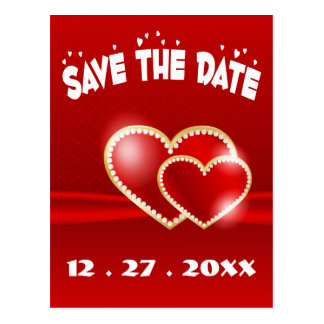 Save The Date Red Heart Engagement Wedding Postcard