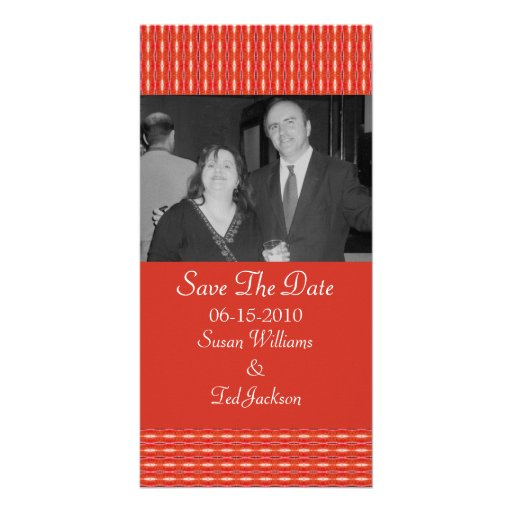 Save the Date red pattern Personalized Photo Card