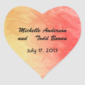 Save the Date Red Yellow Texture Heart Sticker
