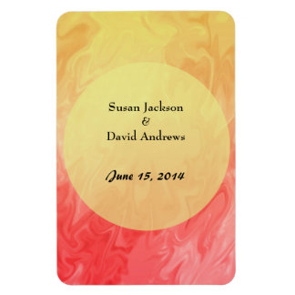 Save the Date Red Yellow Texture Rectangular Photo Magnet