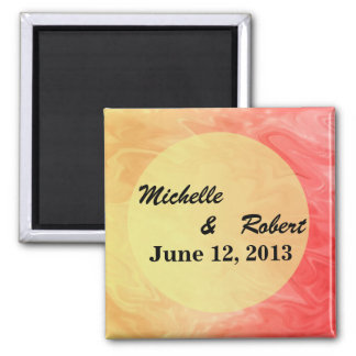 Save the Date Red Yellow Texture Square Magnet