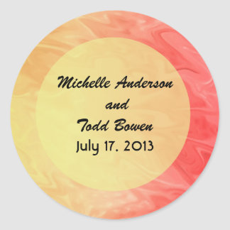 Save the Date Red Yellow Texture Classic Round Sticker