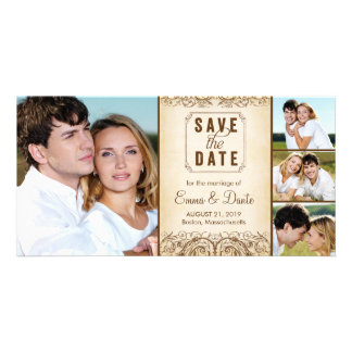 Save the Date   Regal Union Brown Announcement Personalized Photo Card