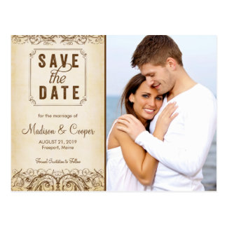 Save the Date | Regal Union Brown Postcard