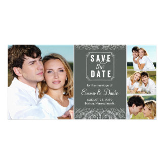 Save the Date | Regal Union Slate Announcement Photo Card Template
