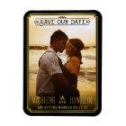 Save the Date Retro Black Gold Deco Wedding Photo Magnet