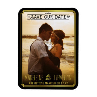 Save the Date Retro Black Gold Deco Wedding Photo Magnet
