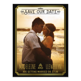 Save the Date Retro Black Gold Deco Wedding Photo Magnetic Card