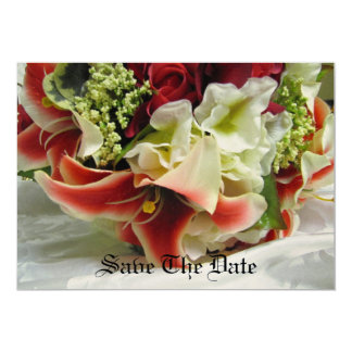 "Save The Date - Romantic Stargazer Lily Bouquet -  5"" X 7"" Invitation Card"