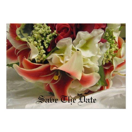 Save The Date - Romantic Stargazer Lily Bouquet -  Custom Invite