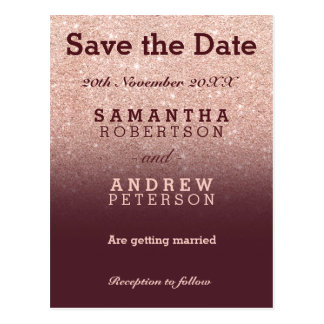 Save the Date rose gold glitter burgundy ombre Postcard