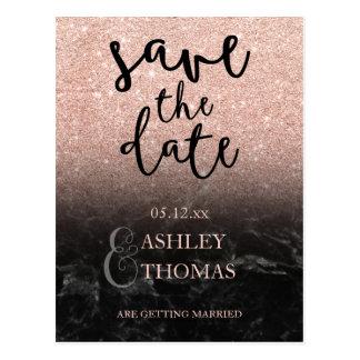 Save the Date Rose gold glitter marble script Postcard