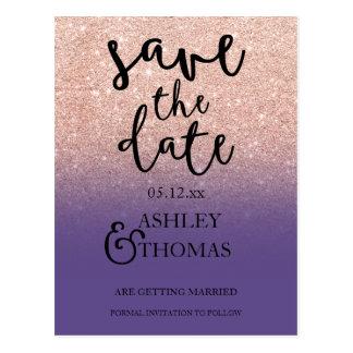 Save the Date Rose gold glitter purple script Postcard