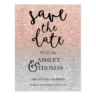 Save the Date Rose gold glitter silver typography Postcard
