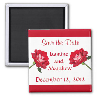 Save the Date Rose Wedding Announcement Magnet
