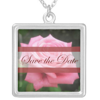Save the date Roses Square Pendant Necklace