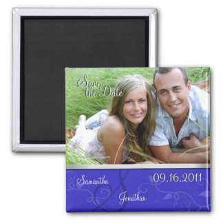 Save the Date Royal Blue & Silver Monogram Magnet
