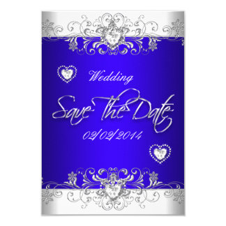 Save The Date Royal blue Wedding White Diamond Hea 3.5x5 Paper Invitation Card