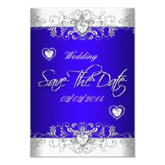 Save The Date Royal blue Wedding White Diamond Hea 3.5x5 Paper Invitation Card
