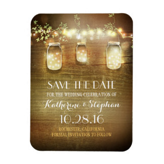 Save the Date Rustic Barn Wood Mason Jars Rectangular Photo Magnet