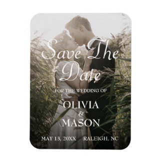 Save the Date - Rustic Brushed, Upload Your Image Magnet