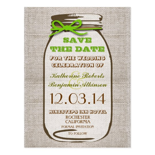 save the date rustic burlap mason jar postcard