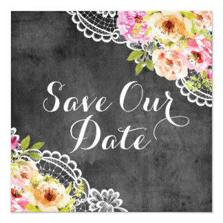 Save The Date Rustic Farmhouse Wedding Roses Lace Card
