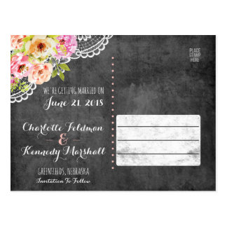 Save The Date Rustic Farmhouse Wedding Roses Lace Postcard