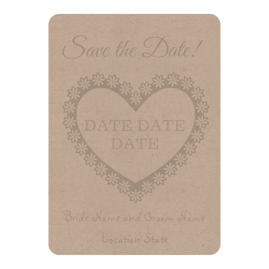 Save the Date Rustic Heart Card