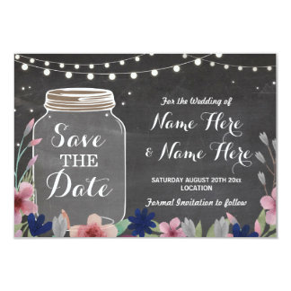 Save The Date Rustic Jar Floral Lights Chalk Card