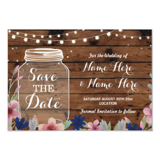 Save The Date Rustic Jar Wood Floral Lights Invite