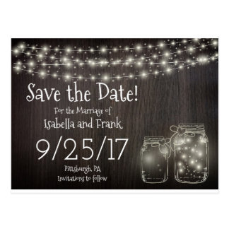 Save The Date-Rustic Mason Firefly Light Postcard