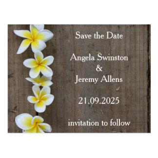 Save The Date Rustic Plumeria Wedding Card