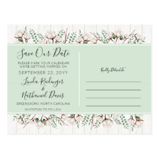 Save The Date Rustic Southern Cotton Wood Wedding Postcard