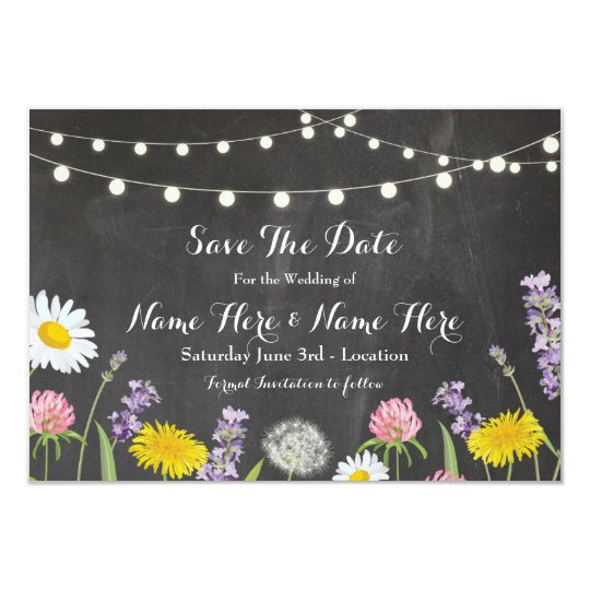Save The Date Rustic Wild Flowers Chalk Invite