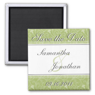 Save the Date Sage Green Victorian Magnet